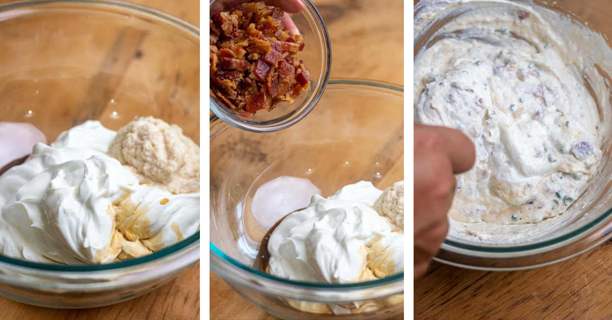 three process shots showing combining the ingredients, adding the bacon and stirring to make the horseradish sauce.