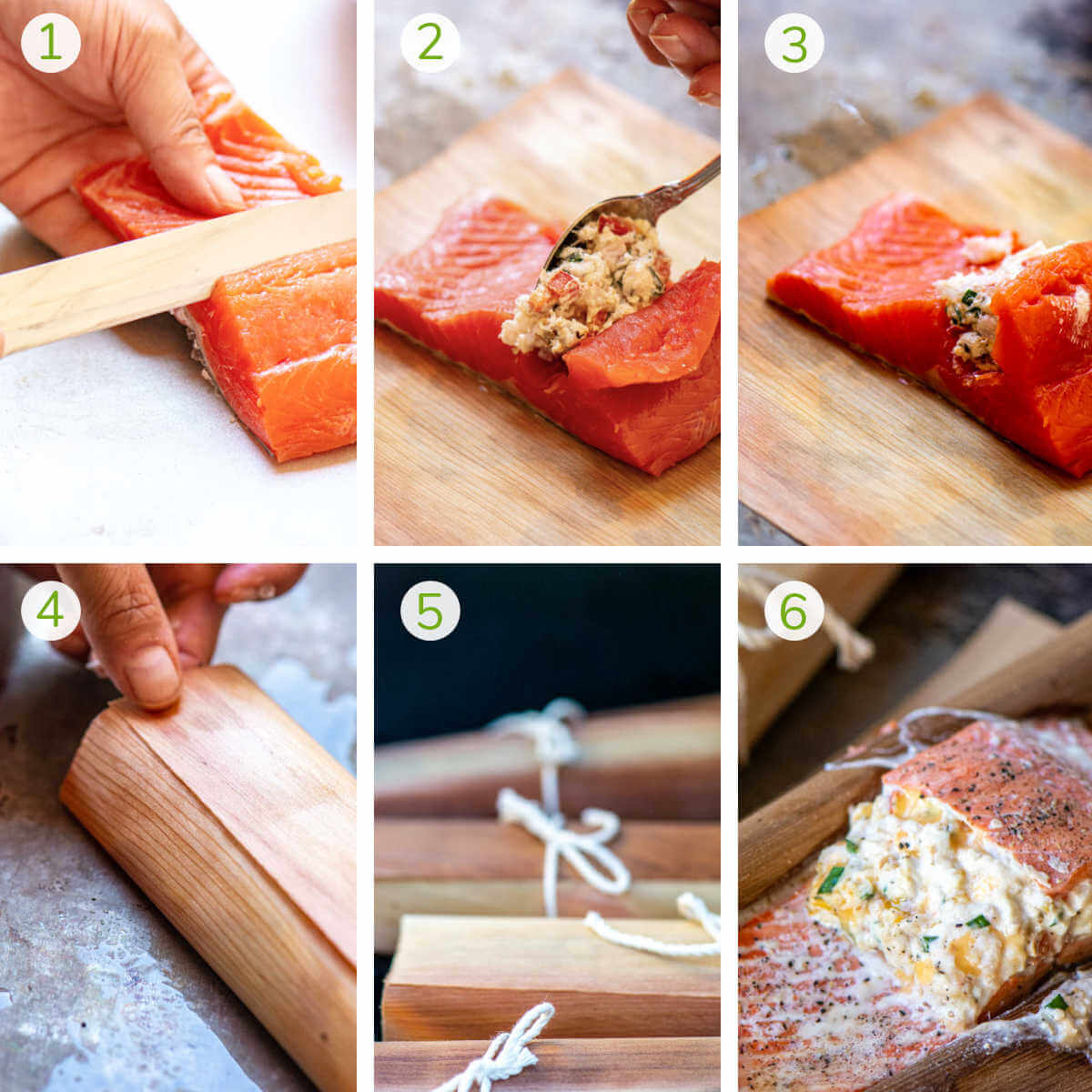 process photos showing how to stuff the salmon, wrap it in cedar, grill it and serving it.