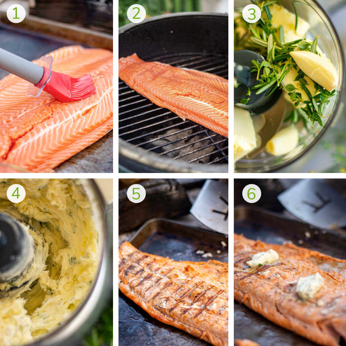 process photos showing brushing the fillet, adding it to the grill, making the butter, and then removing and serving.