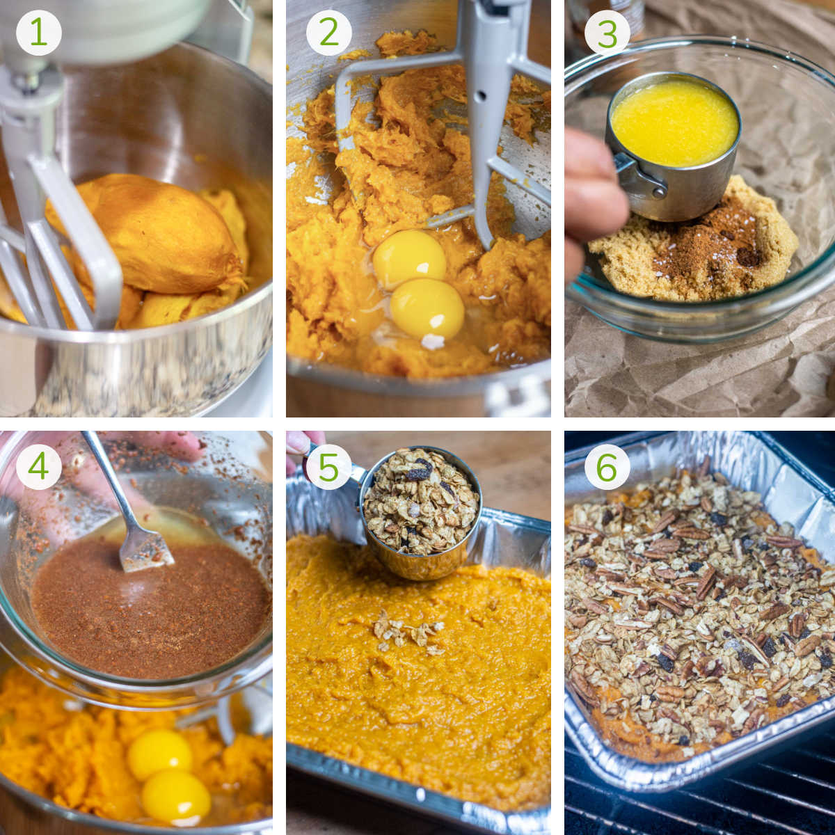 six instructional photos showing how to mix the potatoes, add eggs and flavorings, pouring into a disposable pan, topping and grilling.