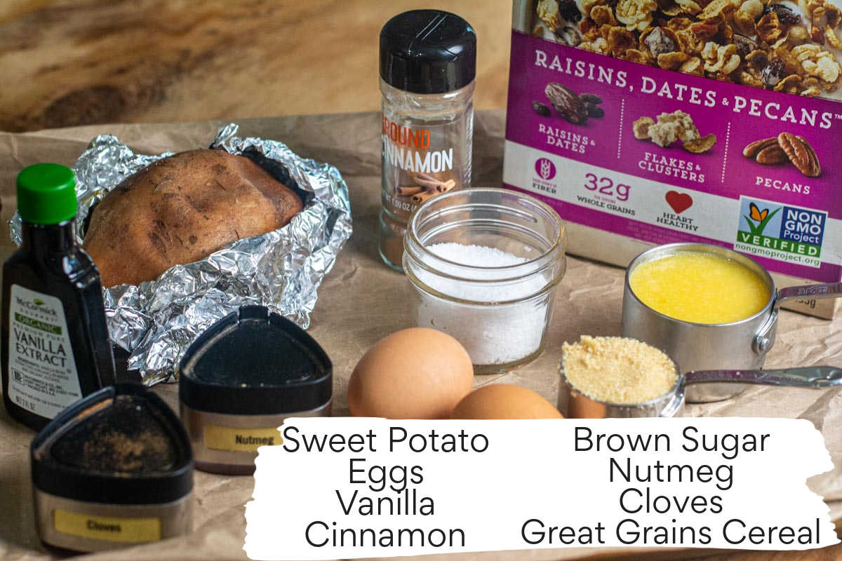 ingredient photo showing everything needed for the sweet potato casserole with labels.