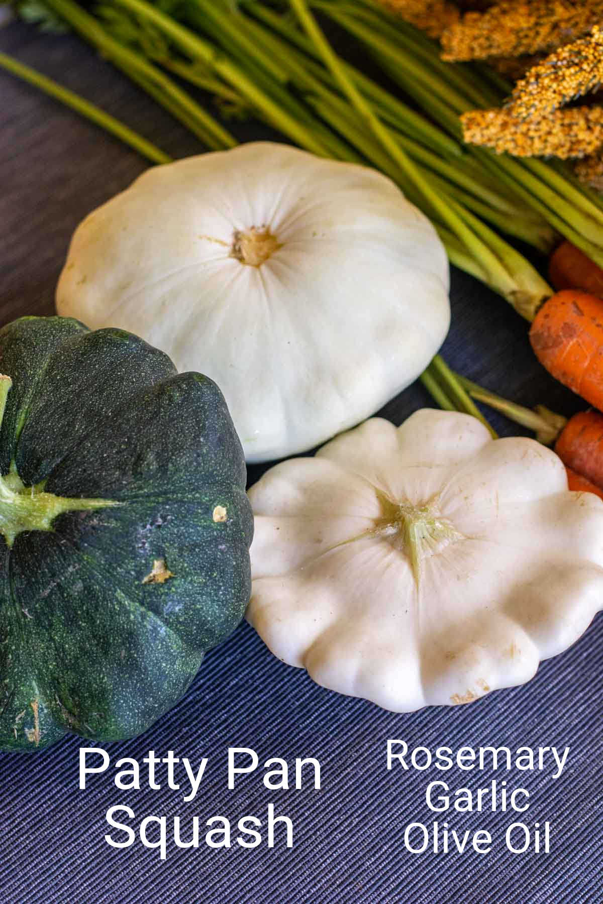 ingredient photo showing the different types of green and white patty pan squash with labels.