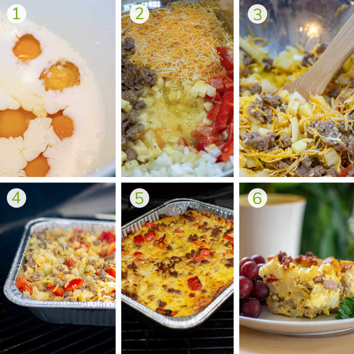 six process photos showing combining the ingredients, grilling and then serving.