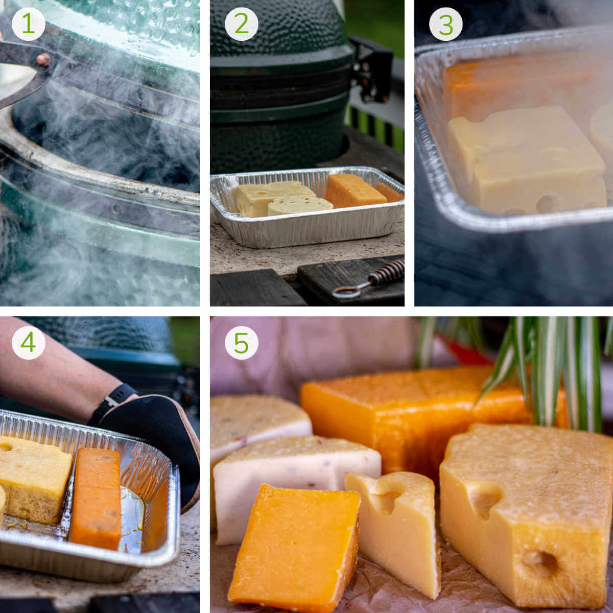 six process photos showing a rolling smoke in the grill, adding the cheese, and then serving.