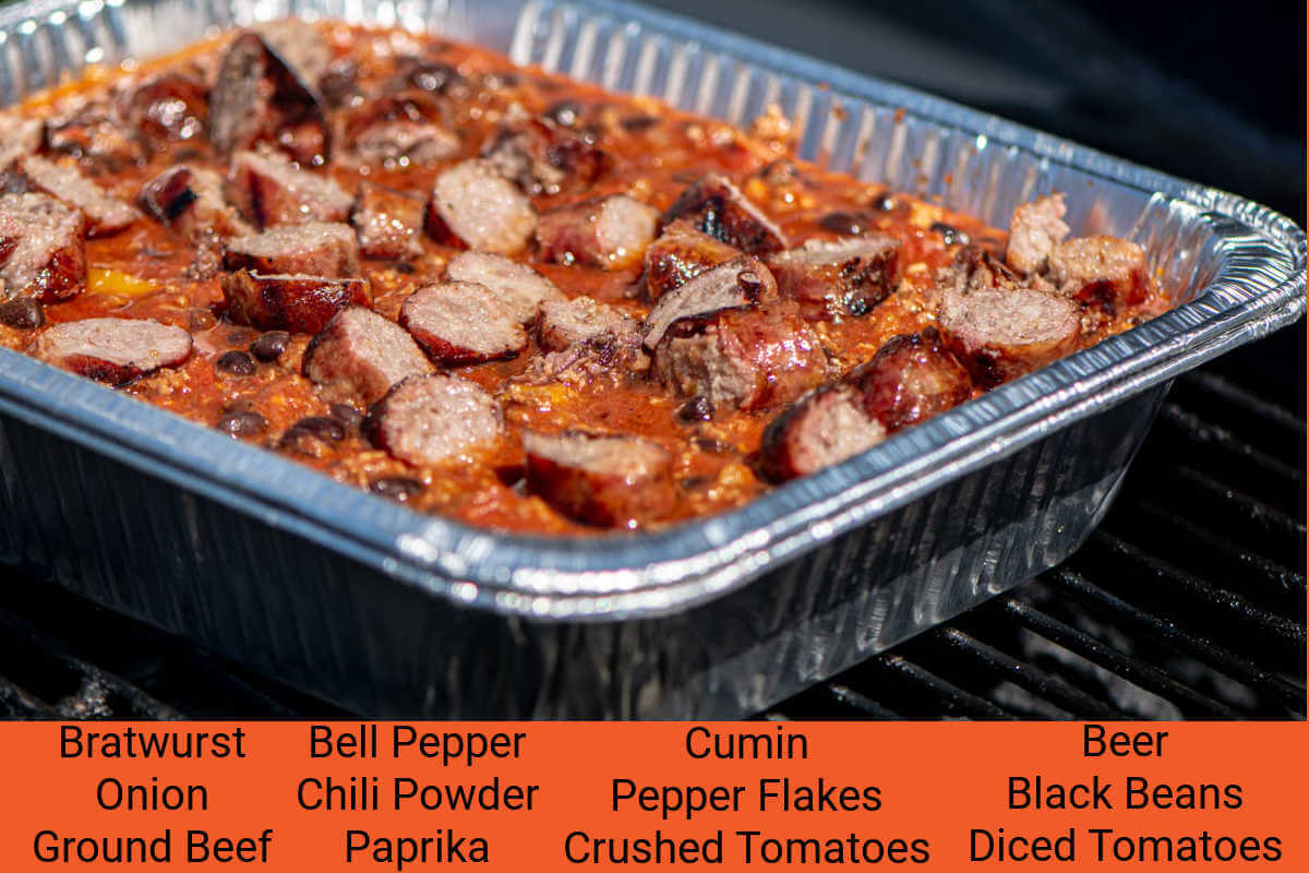 ingredient photo showing the beer brat chili with all of the ingredients listed with labels.