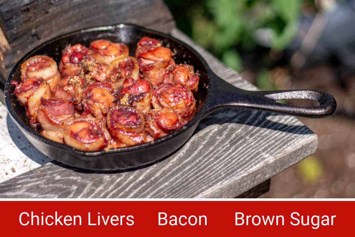 Ingredient photo showing the cast iron skillet with livers and labels for all ingredients.