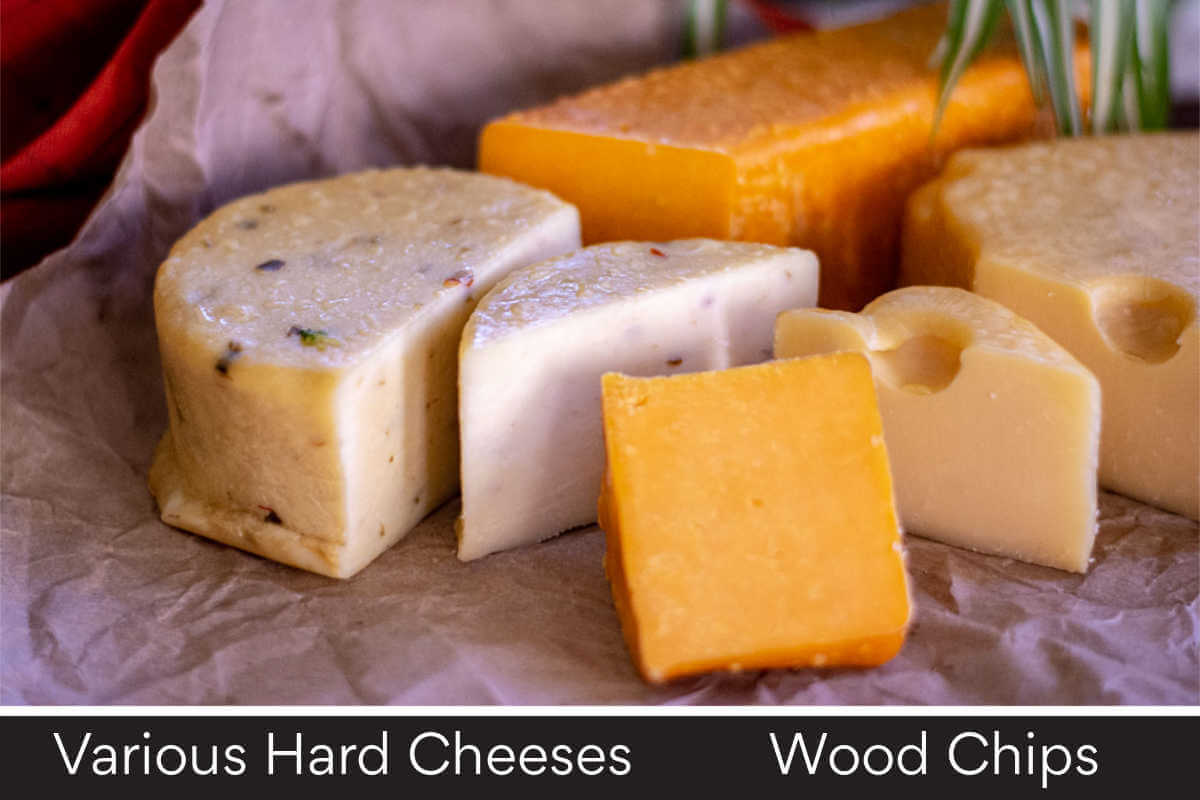 platter with various smoked cheeses and a listing of the required ingredients.