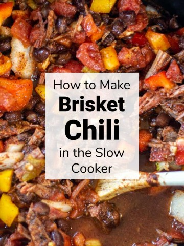 top down view of the slow cooker with brisket chili in it.