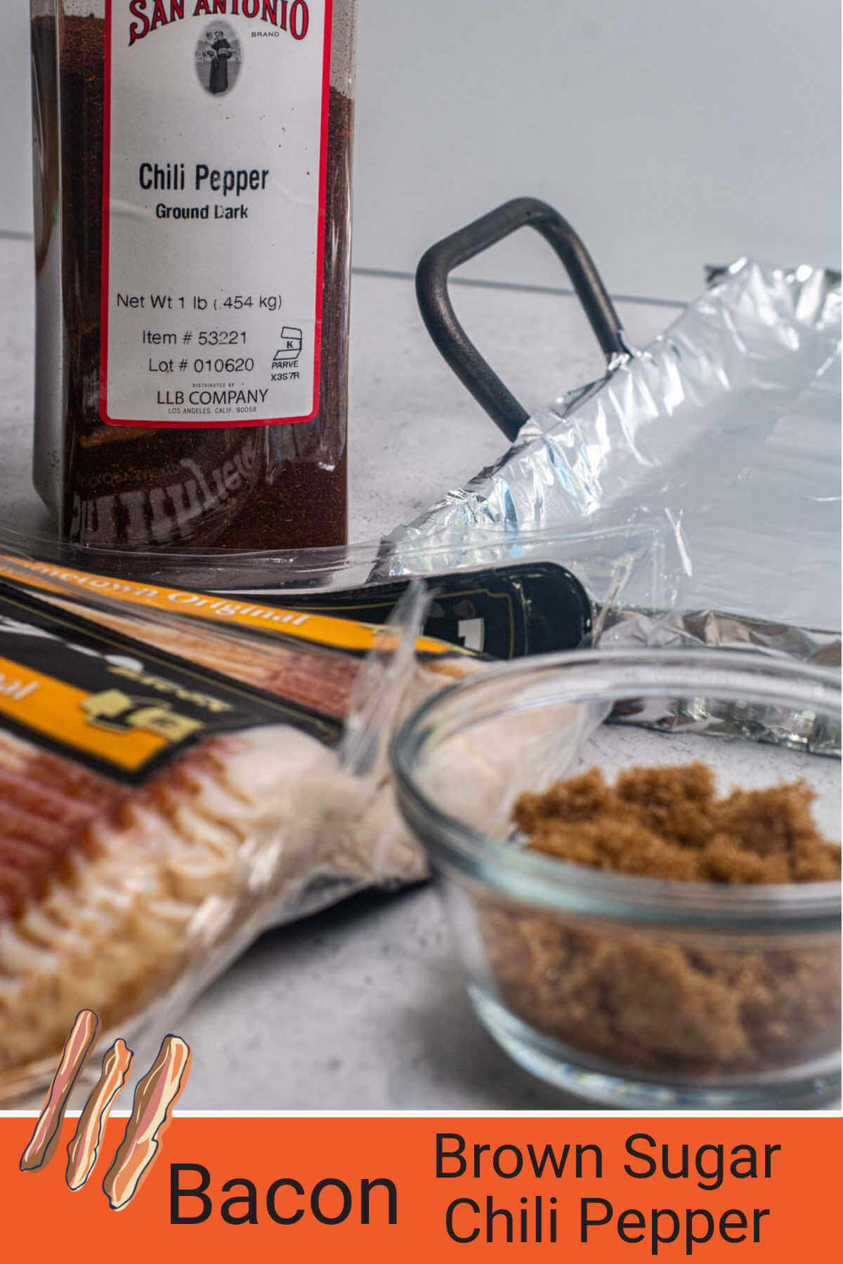 ingredient photo showing bacon, chili pepper, and brown sugar.