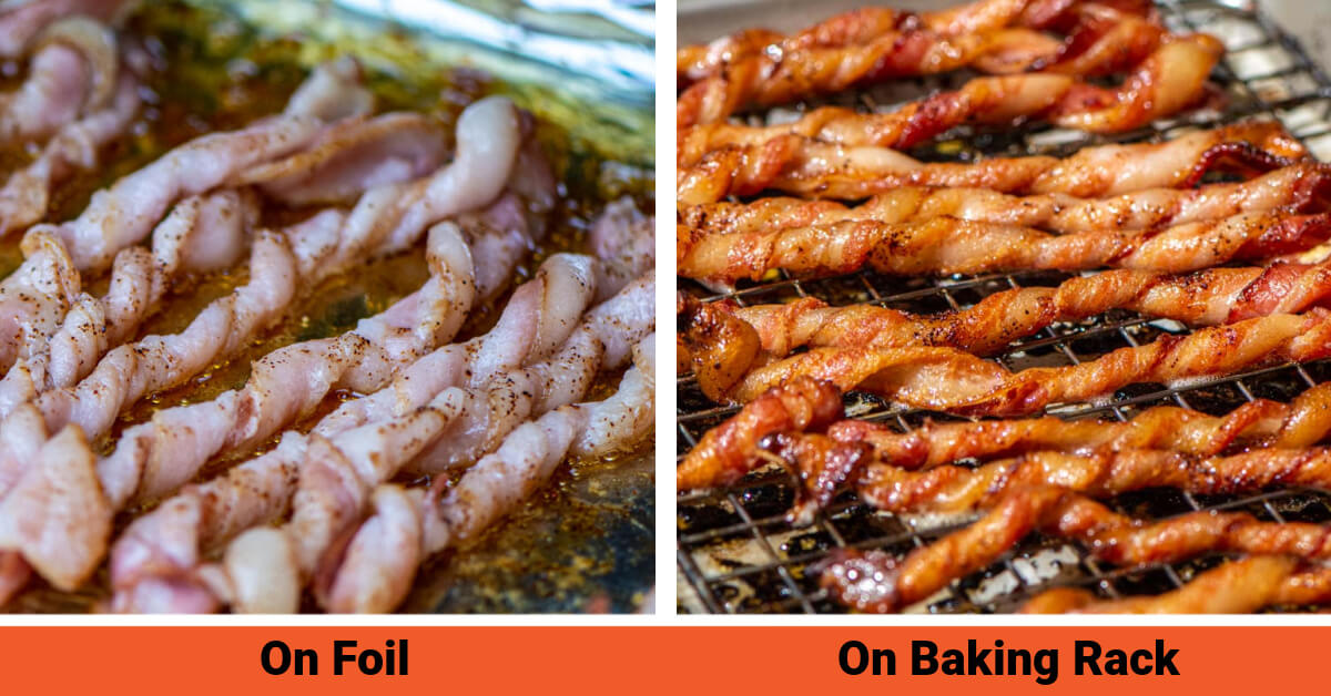 two images showing bacon on foil, and bacon on a raised backing rack.