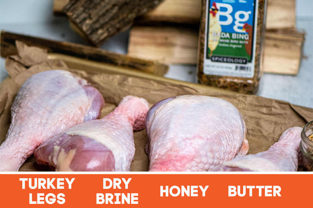 ingredients for the smoked turkey legs with labels.